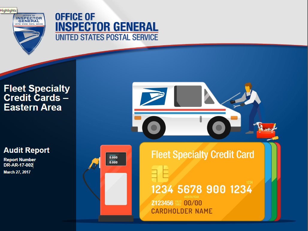 fleet specialty credit cards eastern area usps office of inspector general - Fleet Credit Card