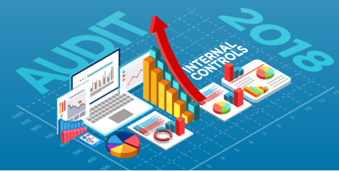 "Cover art graphic of a laptop and various chart graphics beside the words ""Audit Internal Controls 2018."""