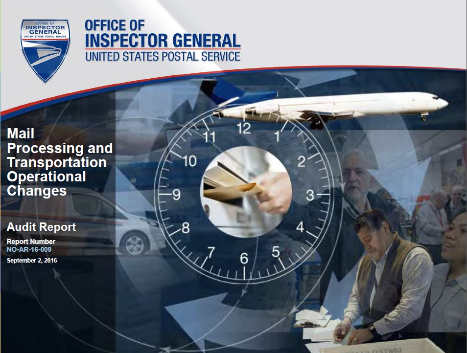 Mail Processing and Transportation Operational Changes  Report