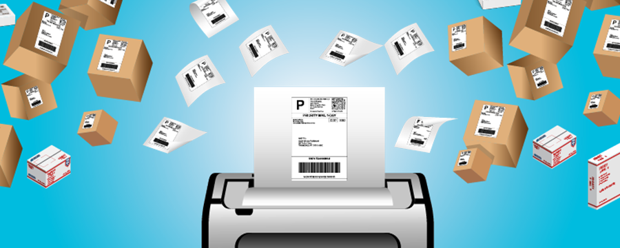 Graphic of a printer printing shipping labels for various mailpieces.