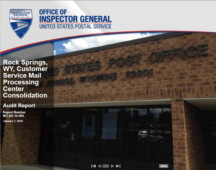 Rock Springs Wy Customer Service Mail Processing Center Consolidation