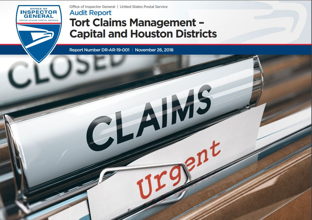 Tort Claims Management – Capital and Houston Districts | USPS Office of Inspector General