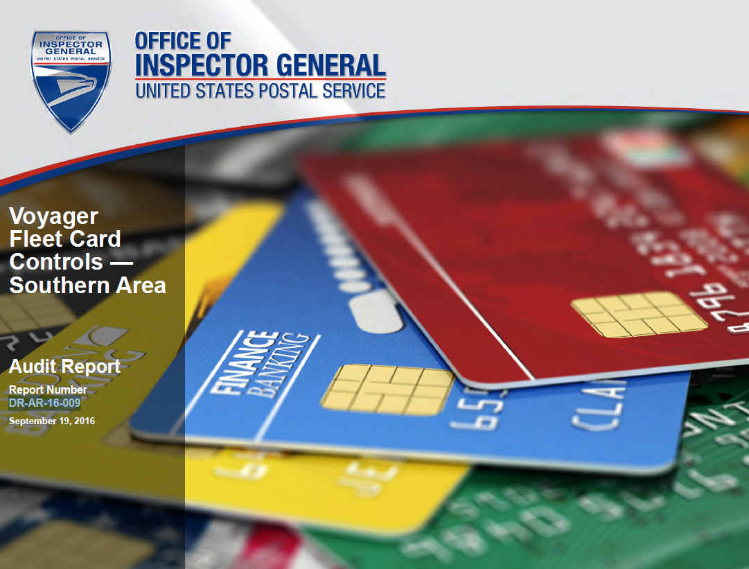 voyager fleet card controls southern area usps office of inspector general - Fleet Card Service