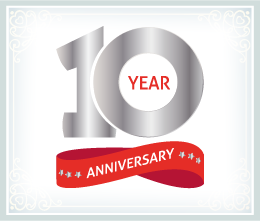 "Graphic that reads, ""10 year anniversary""."