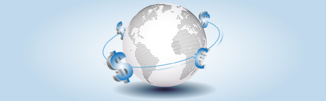 Image of international currency floating around a globe.