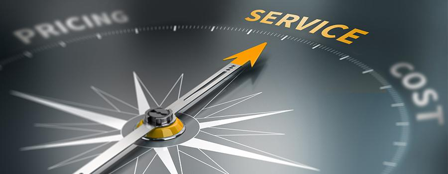 """Compass displaying the words """"service"""", """"cost"""", and """"pricing"""". An arrow is pointing to """"Service""""."""